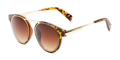 Angle of Bumblebee in Tortoise/Gold Frame with Amber Gradient Lenses, Women's Round Sunglasses