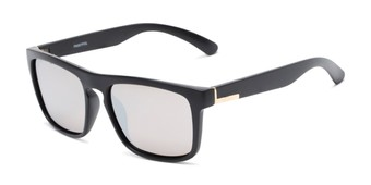 Angle of Burke #60971 in Matte Black Frame with Silver Mirrored Lenses, Women's and Men's Retro Square Sunglasses