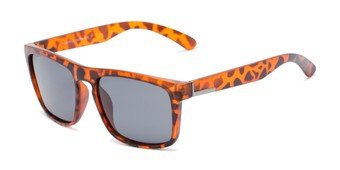 Angle of Burke #60971 in Matte Tortoise Frame with Smoke Lenses, Women's and Men's Retro Square Sunglasses