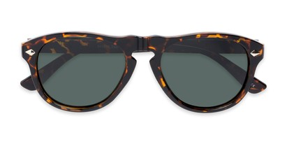 Folded of Burton #54107 in Tortoise Frame with Green Lenses