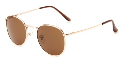 Angle of Cali #6389 in Gold Frame with Amber Lenses, Women's and Men's Round Sunglasses