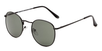 Angle of Cali #6389 in Black Frame with Green Lenses, Women's and Men's Round Sunglasses