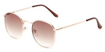 Angle of Cali #6389 in Gold Frame with Amber Gradient Lenses, Women's and Men's Round Sunglasses