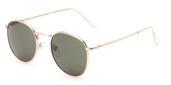Angle of Cali #6389 in Gold Frame with Green Lenses, Women's and Men's Round Sunglasses