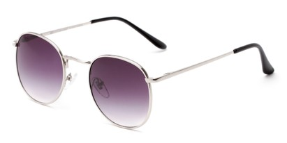 Angle of Cali #6389 in Silver Frame with Smoke Gradient Lenses, Women's and Men's Round Sunglasses