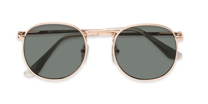 Folded of Cali #6389 in Gold Frame with Green Lenses