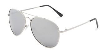 Angle of Caliber #1699 in Silver Frame with Silver Mirrored Lenses, Women's and Men's Aviator Sunglasses