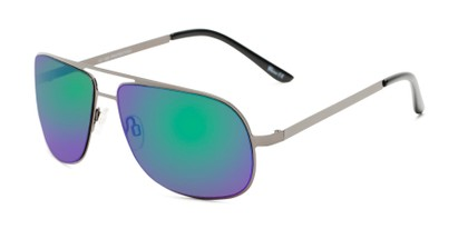 Angle of Canberra #3843 in Grey Frame with Blue/Green Mirrored Lenses, Men's Aviator Sunglasses