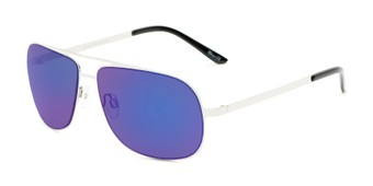 Angle of Canberra #3843 in Silver Frame with Blue Mirrored Lenses, Men's Aviator Sunglasses