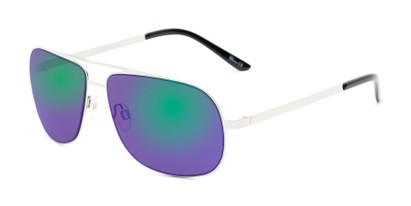 Angle of Canberra #3843 in Silver Frame with Blue/Green Mirrored Lenses, Men's Aviator Sunglasses