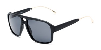 Angle of Captain #25028 in Matte Black/Gold Frame with Smoke Flash Mirrored Lenses, Women's and Men's