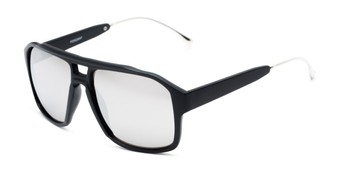 Angle of Captain #25028 in Matte Black/Silver Frame with Silver Mirrored Lenses, Women's and Men's