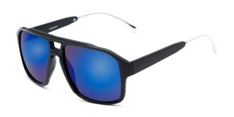 Angle of Captain #25028 in Matte Black/Silver Frame with Blue Mirrored Lenses, Women's and Men's