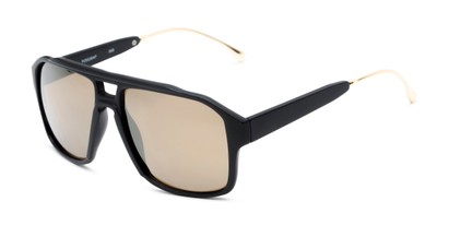 Angle of Captain #25028 in Matte Black/Gold Frame with Gold Mirrored Lenses, Women's and Men's