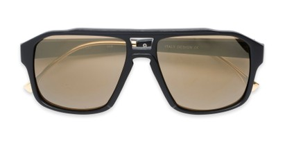 Folded of Captain #25028 in Matte Black/Gold Frame with Gold Mirrored Lenses