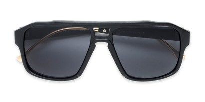 Folded of Captain #25028 in Matte Black/Gold Frame with Smoke Flash Mirrored Lenses