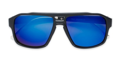 Folded of Captain #25028 in Matte Black/Silver Frame with Blue Mirrored Lenses