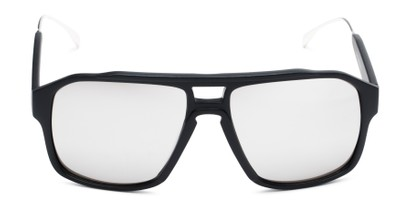 Front of Captain #25028 in Matte Black/Silver Frame with Silver Mirrored Lenses