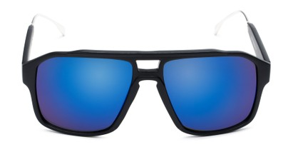 Front of Captain #25028 in Matte Black/Silver Frame with Blue Mirrored Lenses