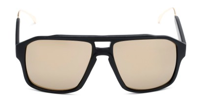 Front of Captain #25028 in Matte Black/Gold Frame with Gold Mirrored Lenses