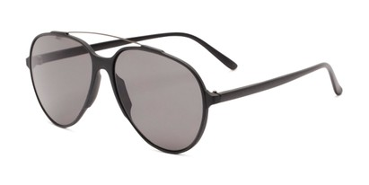 Angle of Casey #3084 in Glossy Black Frame with Grey Lenses, Women's and Men's Aviator Sunglasses