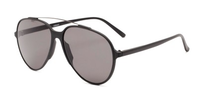 Angle of Casey #3084 in Matte Black Frame with Grey Lenses, Women's and Men's Aviator Sunglasses