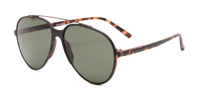 Angle of Casey #3084 in Matte Tortoise Frame with Green Lenses, Women's and Men's Aviator Sunglasses