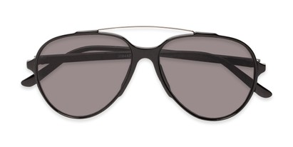 Folded of Casey #3084 in Glossy Black Frame with Grey Lenses