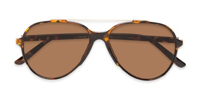 Folded of Casey #3084 in Glossy Tortoise Frame with Amber Lenses
