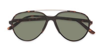 Folded of Casey #3084 in Matte Tortoise Frame with Green Lenses