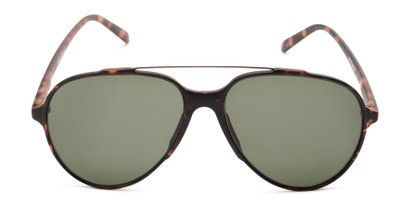 Front of Casey #3084 in Matte Tortoise Frame with Green Lenses