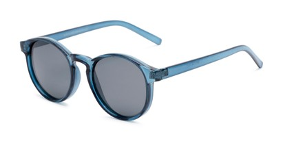 Angle of Cash #2029 in Clear Blue Frame with Grey Lenses, Women's and Men's Round Sunglasses