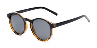Angle of Cash #2029 in Black/Tortoise Frame with Grey Lenses, Women's and Men's Round Sunglasses