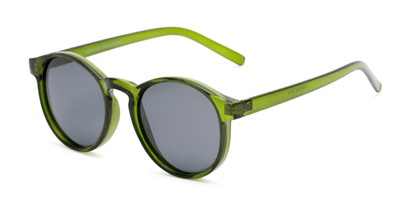 Angle of Cash #2029 in Clear Green Frame with Grey Lenses, Women's and Men's Round Sunglasses