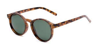 Angle of Cash #2029 in Tortoise Frame with Green Lenses, Women's and Men's Round Sunglasses
