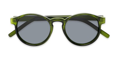 Folded of Cash #2029 in Clear Green Frame with Grey Lenses