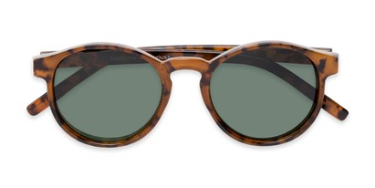 Folded of Cash #2029 in Tortoise Frame with Green Lenses