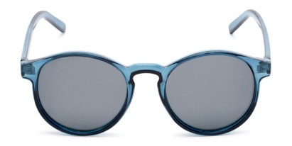 Front of Cash #2029 in Clear Blue Frame with Grey Lenses