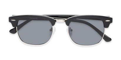 Folded of Cassia #4018 in Black/Silver Frame with Smoke Lenses