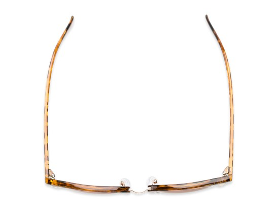 Overhead of Cassia #4018 in Tortoise/Gold Frame with Amber Lenses