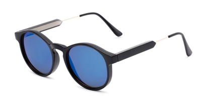 Angle of Cassidy #54104 in Black Frame with Blue Mirrored Lenses, Women's and Men's Round Sunglasses