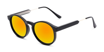 Angle of Cassidy #54104 in Black Frame with Orange Mirrored Lenses, Women's and Men's Round Sunglasses