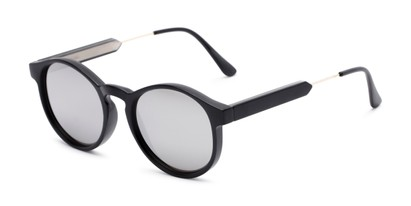 Angle of Cassidy #54104 in Black Frame with Silver Mirrored Lenses, Women's and Men's Round Sunglasses