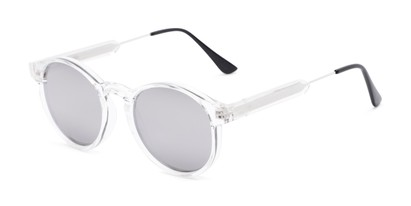 Angle of Cassidy #54104 in Clear Frame with Silver Mirrored Lenses, Women's and Men's Round Sunglasses