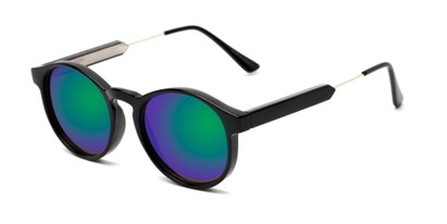 Angle of Cassidy #54104 in Black Frame with Green/Purple Mirrored Lenses, Women's and Men's Round Sunglasses