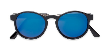 Folded of Cassidy #54104 in Black Frame with Blue Mirrored Lenses