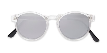 Folded of Cassidy #54104 in Clear Frame with Silver Mirrored Lenses