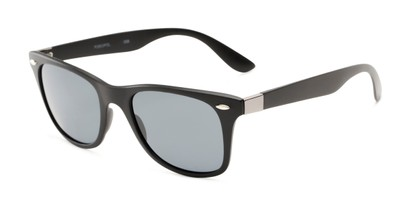 Angle of Castle Rock #28031 in Matte Black with Smoke Lenses, Women's and Men's Retro Square Sunglasses