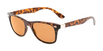 Angle of Castle Rock #28031 in Matte Tortoise with Amber Lenses, Women's and Men's Retro Square Sunglasses