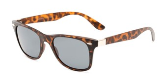 Angle of Castle Rock #28031 in Matte Tortoise with Smoke Lenses, Women's and Men's Retro Square Sunglasses